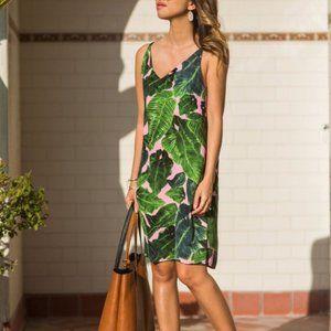 Topshop Pink Palm Print Cross Back Slip Dress